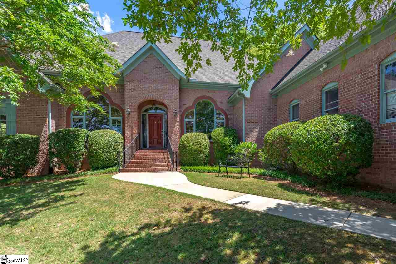 Come see this beautiful all brick one-level home in Montebello, one of Greenville's most prestigious gated communities and only minutes to award winning downtown Greenville. This home has 3 bedrooms, 3.5 baths, and endless opportunity. The well-built home abounds in privacy, tucked away in lush greenery at the end of a cul-de-sac. With a pool, screened in porch, and large deck in the backyard, you will feel like you have a personal oasis! Well-loved over the years, the beautiful chef's kitchen was updated this year with gorgeous marble countertops and a new tile floor. The laundry room off the kitchen has a sink and second refrigerator.  The walls throughout have new paint in wonderful neutral colors.  The see-through gas fireplace is located in both the den and living room, along with beautiful built-in bookshelves and cabinets. The master bedroom has 3 separate closets with in-suite bath.  With a two-car garage, a workroom, and tons of closet space, this home has plenty of storage and space to spread out.  Close to Paris Mountain, you get a taste of the great outdoors through the natural light and beautiful views throughout the home. Are you ready for a timeless family estate? Come see the possibilities and make this home your own!