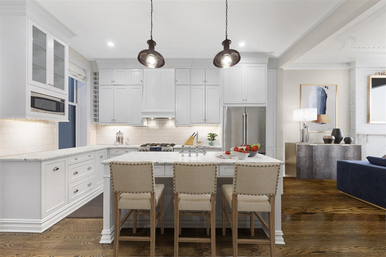 Welcome to 702 Bloomfield Street. This 20 ft wide 3 family, 4 story brownstone with 3,489 sq ft located in the heart of the city with easy access to NYC features a bright open concept floor plan & rear deck.  The option to live in a tastefully renovated 3 bedroom 2.5 bath duplex while collecting income from above or keep as is for a nice ROI.  The duplex is approximately 1,800 square feet with soaring 9.5 ft ceilings.  Stainless appliances, central A/C, washer/dryer, hardwood floors, restored original ceilings & mantle, maintenance free private landscaped yard, bluestone patio, sprinkler system and storage shed.  All 3 units are currently rented.  Steps from restaurants & shopping, 1 block from bustling Washington street, express bus to Manhattan and close to Hoboken PATH.  Seller is Licensed by the NJREC.