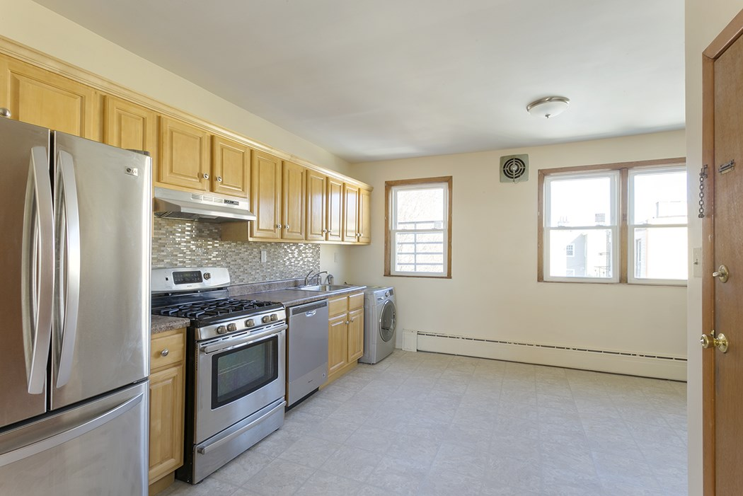 BROKER FEE IS NEGOTIABLE with great credit! Spacious and bright three bedroom apartment for rent with brand new kitchen and bath. New washer and dryer included in unit. All stainless steel appliances: 5 burner gas stove, dishwasher, plus large capacity freezer-on-the-bottom refrigerator. Kitchen is open to large dining area. Ample closet space w/extra large linen closet. Gorgeous hardwood floors plus new ceramic tile in Kitchen. Cast iron baseboard heat, new windows, freshly paint. Heat, hot water INCLUDED, pay only cooking gas and electric. Fabulous recreation at your doorstep: swimming, tennis, basketball, playground, running track and more! Bus route to NYC and CitiBike right on corner. Restaurants and shopping galore very nearby. A wonderful smoke free, pet free OASIS in the city!