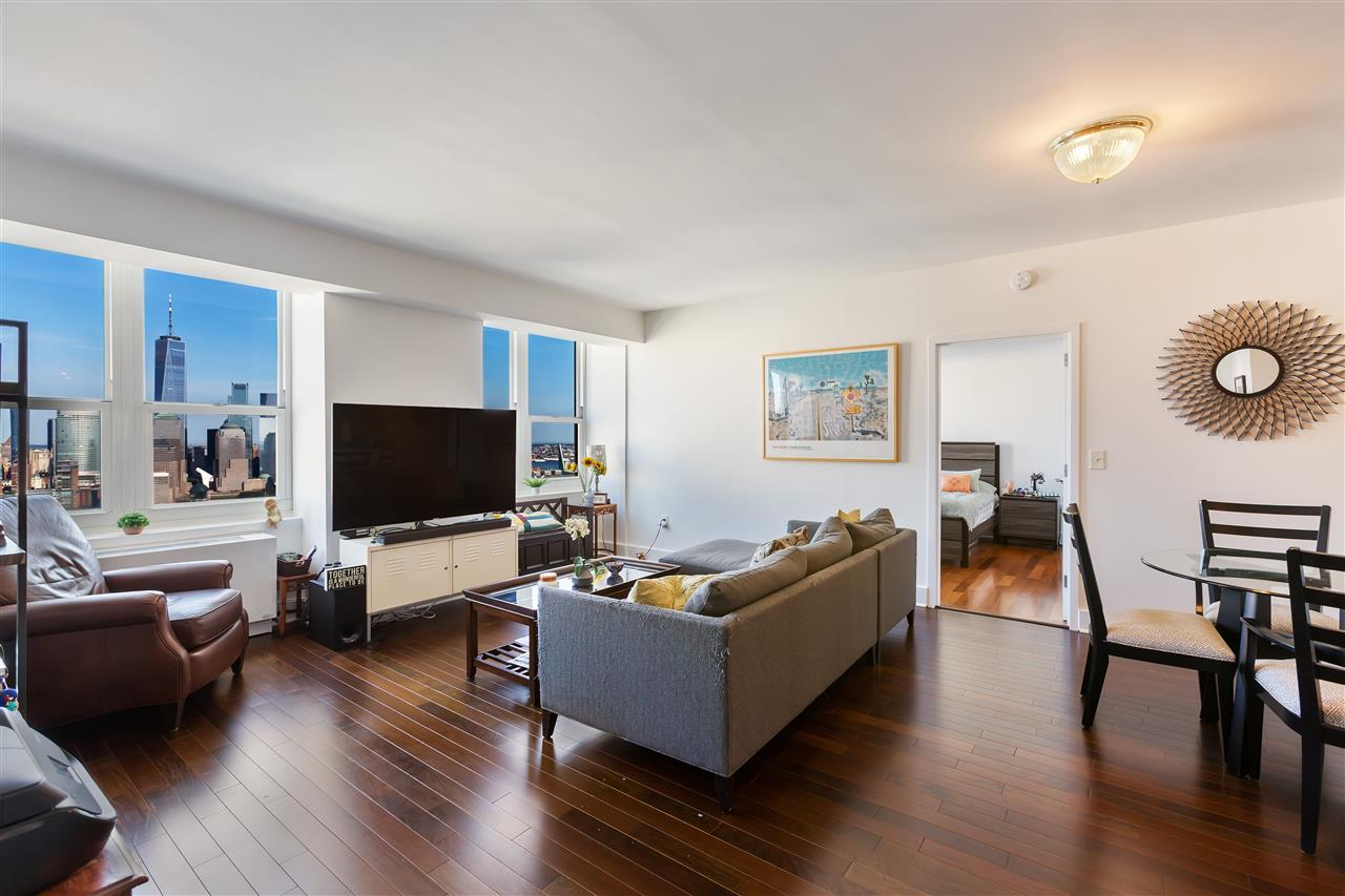 Amazing Penthouse Unit with Direct East Views from GWB to Statue of Liberty. INVESTOR ONLY. Current lease ends April 2020.  This 2 BR/2BA at Trump Plaza Residences in Jersey City offers bright light throughout with an open kitchen, granite counters, S/S appliances, HDWD floors in a building renown for luxury amenities including, outdoor pool and sundeck, Aqua Grotto w/jacuzzi, steam, sauna, fitness center, billiards, table tennis, virtual golf, resident's lounge/party room, media, business center.  Transportation to NYC made easy from Newport or Exchange Place PATH, NYC Ferry or NJ Transit bus.  Light Rail will take you from Bayonne to West New York.
