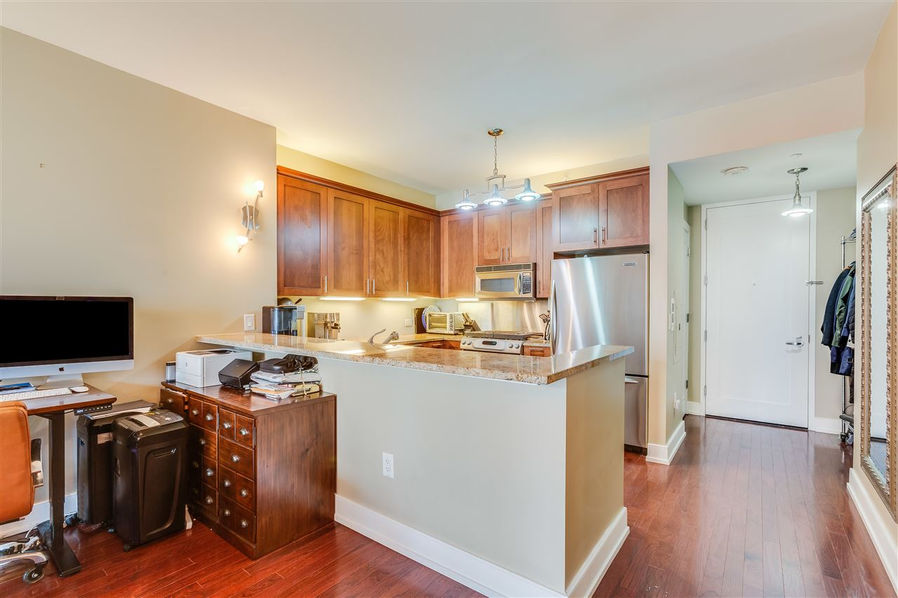 Be 1 block from Path Train station and 1 stop to WTC! This spacious sun-soaked one bedroom on the 16th floor of Montgomery Greene enjoys unobstructed views and a deeded storage unit, along with 24 hour doorman, updated gym, and rooftop BBQ space with sweeping views of the Statue of Liberty. Perfect for first time home buyers or anyone looking to create their own haven, this gorgeous unit in Jersey City's premier luxury boutique condo features hardwood floors, granite countertops, in-unit laundry, a double sink in the bathroom, stainless steel appliances, and custom closet shelving. Pocket doors separate the bedroom and bath from the open living space, creating a unique and practical layout. The well-maintained building also offers community social room, bike storage, valet parking available and Dunkin' on premise. A block from the waterfront boardwalk and stunning Manhattan views, this home has everything you need, come see it today!
