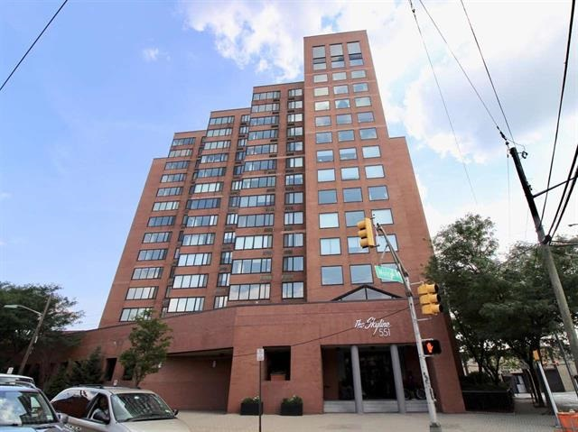 Affordable luxury living in Hoboken! Large Southern exposure 1 BR (806 sq ft) with large terrace w/ NY Skyline view, Free gym w. sauna, free shuttle to PATH, Doorman Bldg, and did I mention FREE PARKING!  Apt has lots of light, new hardwood floors, Fresh paint job, stainless steel appliances with new refrigerator, kitchen opens to LR, Large MBR w/Jack and Jill bathroom, lots of closet space, great area located across from new SW park, lots of shops and galleries nearby. Pet Friendly  building with $150 per year pet fee, $300 move in fee.    $500 refundable move in damage deposit 1 month Broker fee