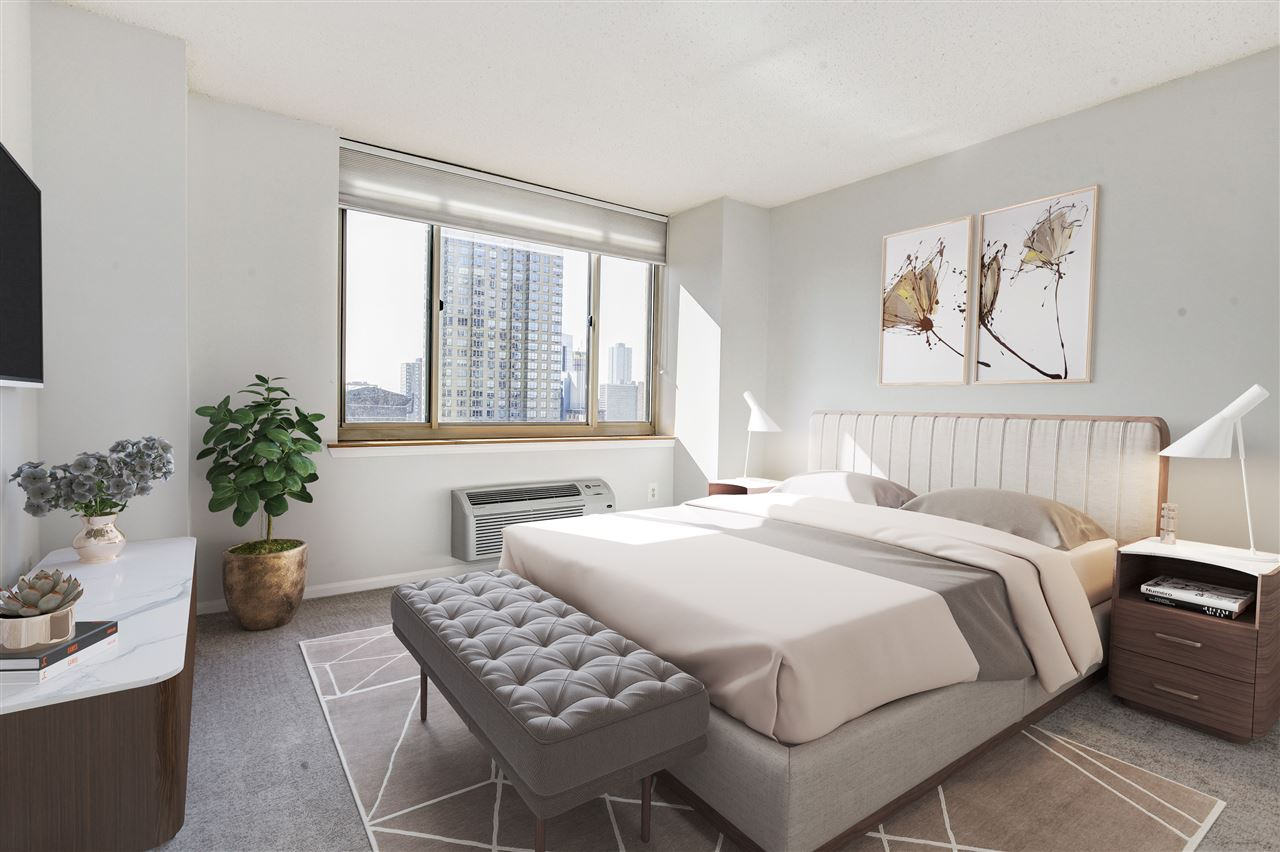 Sunny, South facing 1 Bed/1 Bath with stunning views of NYC & The Hudson! Come home to this beautiful, bright waterfront condo at the Portofino. This sun-drenched home features large beautiful bay windows, recess lights & brand new stainless steel appliances.  Amenities include; heated pool, 24 hour concierge, gym, residents lounge, ping pong room, business lounge & children's play room. Close to all major transportation; Newport & Exchange Place Path Stations, Light Rail, Ferry & Bus. Short walk to Newport mall, upcoming whole foods store, grocery stores & tons of restaurants & bars in Downtown JC. HOA includes; water, hot water, Direct TV with HBO & high speed internet.