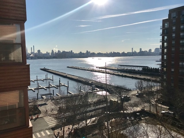 Beautifully renovated 1 BR/1 BA on 8th floor of this luxury, waterfront, 24/7 doorman building with views of NYC, Hudson River & courtyard. Open living room, granite counters, 24/7 doorman, courtyard (4th fl.) gym (3rd fl.), on-site, garage parking (fee), pool (fee). Close to ferry, shops, restaurants, parks and marina. Move right in to this bright, modern unit with southern exposure & a full renovation & gorgeous NYC views. Available September.