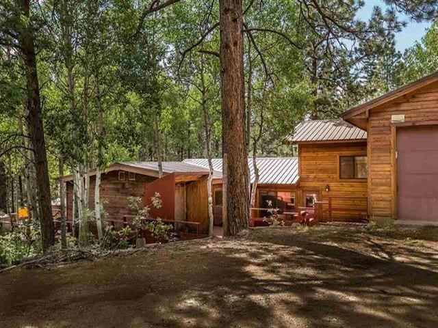 What a unique find! Just on the outskirts of Angel Fire with no Resort dues but less than 8 minutes to the ski area or PGA rated golf course. Beautiful house set in the trees with lots of deck space and outdoor fun to be had. Very efficient wood stove and electric heat. 3 bedroom 3 full baths, large living area/dining in the main house and a 1 car garage with additional 20x25 metal workshop. High speed internet is in place as well as a fenced area for dogs. This property also has a 2 bed 2 bath rental house down below the main house that has been updated and can be income producing. This rental has a separate driveway and is barely visible from main house. The two houses feel very separate and are surrounded by beautiful Aspen and Pine. Such potential for this property and so much to offer!