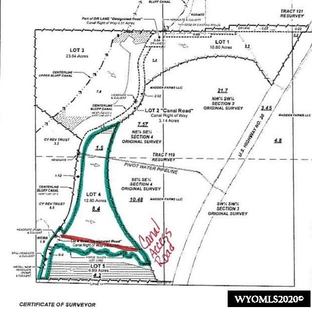 The perfect place to build you house, irrigated, will make a great pasture for horses, steers or any 4-H project.  Wyoming Gas runs along the highway.  Water taps are available.  This type of property is almost impossible to find.  Call before its gone!